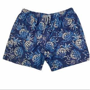 Brooks Brothers blue pineapple swim trunks NWOT. SIZE XL
